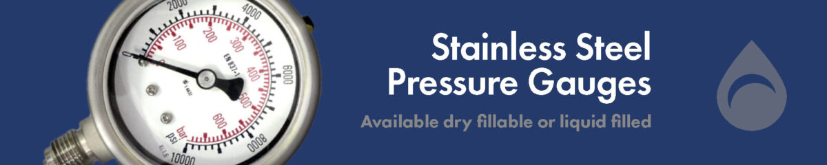 Pressure Gauges, Available dry fillable or liquid filled